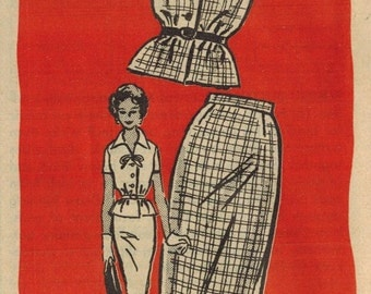 1950s Mail Order 4829 UNCUT Vintage Sewing Pattern Misses Blouse and Skirt Size 12 Bust 32