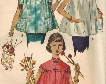 1950s Simplicity 4718 Vintage Sewing Pattern Misses Maternity Tops Size 12 Bust 30, Size 14 Bust 32