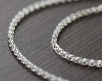 Valentine's Day gift Unisex sterling silver chain necklace Woven Italian finished chain 2mm thick
