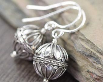 Valentine's Day gift Hot air balloon earrings Sterling silver earrings Bali earrings boho earrings