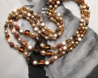 Beaded Multistrand Necklace, Faux Pearls 3-Strand Necklace, Graduated Mixed Glass Bead Necklace, 1950s Retro Jewelry, Vintage Japan Necklace