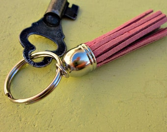 Classic Silver Keyring or Purse Charm with Suede Tassel Accent in Your Color Choice: Preppie