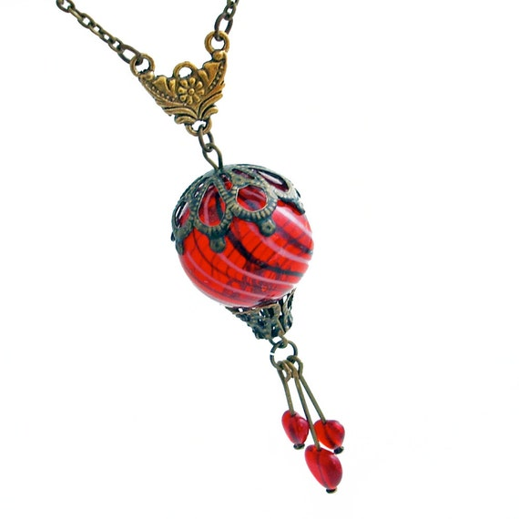 Beautiful Red Balloon - Hot Air Balloon with Hearts - Necklace Handmade Jewelry Jewellery