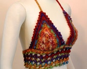 Rainbow Crochet Bikini - Hippie EDM Festival Crop Top - Summer Beachwear Halter Bra - Multicolor Bikini Top - Rave Fashion