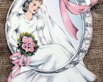 Vintage Style Bride Wedding Ring Bridal Shower Favor Gift Tags or Hang Tags #179