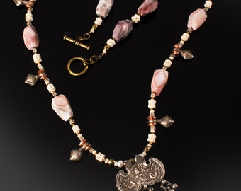 Botswana agate necklace * old Indian pendant jewelry * tribal jewelry