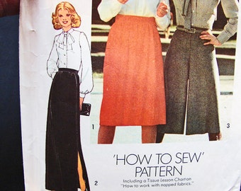 1970s Maxi Skirt Pattern Misses size 12 UNCUT Womens Long Slit Skirt, Culotte Skirt Vintage Sewing Pattern