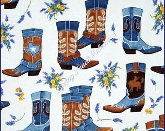 "Robert Kaufman ""Greetings From Texas"" Large Western Cowboy Boots Bluebonnets Fabric Yard 36""x44"" Denim"