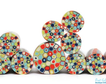 Orange, lime green, sky blue, dark blue & cream polymer clay Retro Dots round cane , raw and unbaked Fimo millefiori cane by Ronit Golan