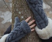 Long cuff convertible mittens in dark grey  Bella inspired.