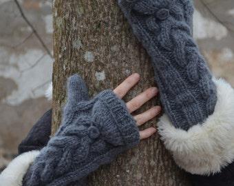 Long cuff convertible mittens in dark grey  Bella inspired.