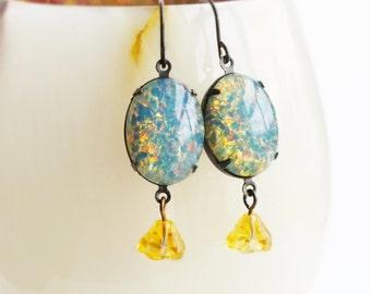 Blue Opal Earrings Vintage Glass Harlequin Fire Opal Earrings Light Blue Earrings Victorian Opal Jewelry Blue Bridal Wedding Jewellery