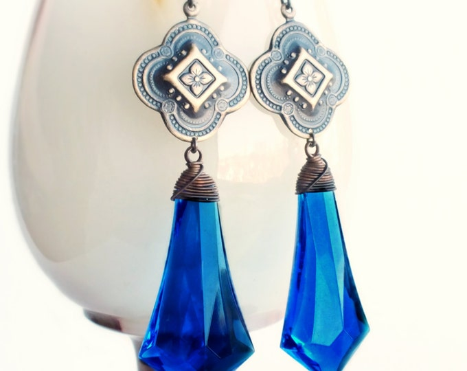 Large Blue Drop Earrings Vintage Royal Blue Briolettes Glamorous Victorian Statement Jewelry