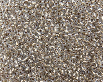 6/0 Transparent Crystal Gold Lined Czech Glass Seed Beads 20 Grams (CS107)