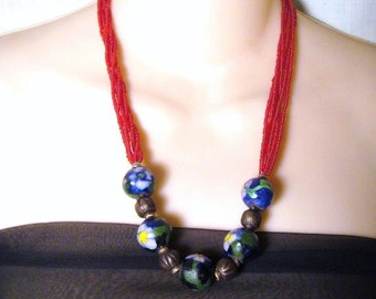 Vintage Red Blue Wood Floral Beaded Asian inspired Necklace
