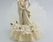 Off White Gardenia Cake Topper - Custom Painted Hair Color Available - 102140