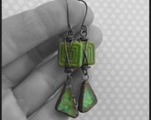 Copper Wire Wrapped Green Glass Squares with Sparkling Glass Charm Earrings