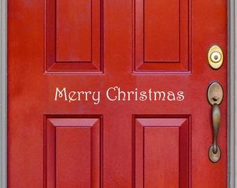Merry Christmas Front Door - Holiday Door Decal - Christmas decal - Wall Art - Vinyl Decal - Holiday Decal