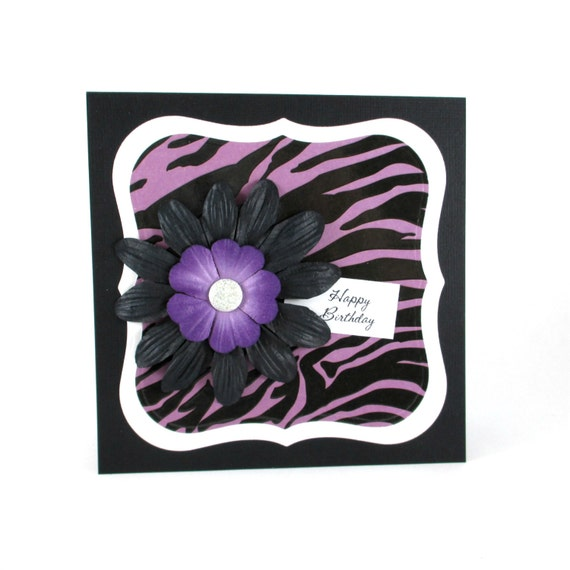 Birthday Card Purple Zebra Print 21st Birthday 30th