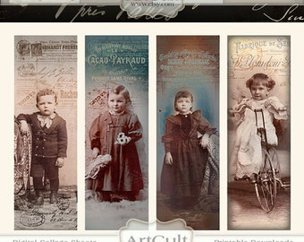 Digital Collage Sheet LOST AND FOUND Aged Bookmarks Printable Download altered vintage children photos scrapbooking ArtCult graphics