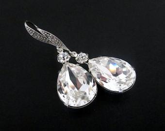 Crystal Bridal earrings, Swarovski Bridal earrings, Wedding jewelry, Teardrop earrings, Long earrings, Rhinestone earrings, Bridesmaid gift