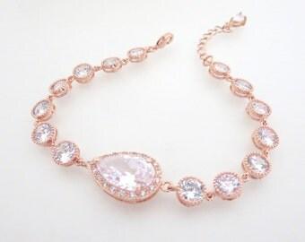 Rose Gold Bridal Bracelet, Crystal Wedding bracelet, Rose gold Wedding jewelry, Simple bracelet, Pink Gold bracelet, Teardrop bracelet