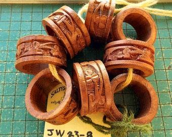 8 carved wood napkin rings, vintage 1970s, nostalgia place setting, tropical wood carvings, old hand crafts