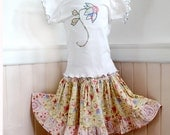 Girl Twirl Skirt & Applique Top Pink Yellow Ruffle Girl Skirt Kid Clothes Girl Toddler Outfit Size 2T 3T 4 5  Cotton Boutique Girl Clothes