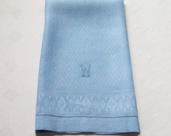Linen Towel Blue Diamond Damask Monogram W