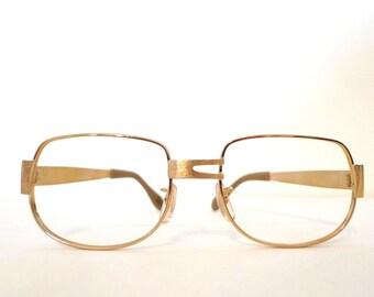 Vintage 70s Never Used BIG Aviator Eyeglass Frames. NOS Goldtone Metal Hip Hop Driver Pilot AMerican Hustle Disco Sunglasses. Pilot. SALE