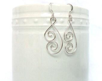 Ornate Spiral Silver Wire Earrings, 925 Silver Womens Earrings, Spiral Butterfly Wing Earrings