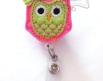 Pink and Lime Green Owl Badge Holder, Feltie Badge, Felt Badge Clip, Nurse Badge Reel, Retractable Badge, RN Badge