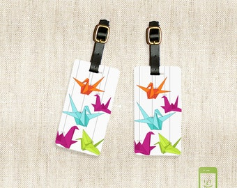 Personalized Luggage Tags Paper Cranes Rainbow Origami Luggage Tag Set Personalized Luggage Tags - Full Metal Tags