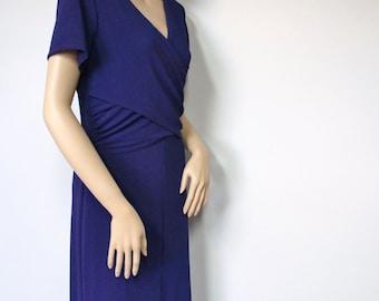Vintage Dress 1980's Deep Purple Dress Knit Stretchy Maxi Long Dress Short Sleeved Size 8