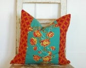 Teal Cottage Chic Pillows,Teal  Decorative Throw Pillow, Teal Bohemian Pillows,Teal  Boho Chic Pillows, Reversible