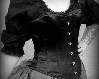 Gothic Witch Victorian Corset Front Opening Busk c.1860 in Satin Coutil costume witchy black