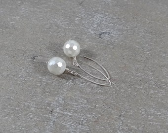 White Faceted Pearl Dangle Earrings with Sterling Silver Ear Wires