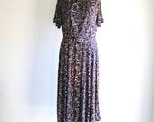 SALE Vintage 1960s Atomic Print Dress Purple Brushstroke Drop Waist Midi Dress L/XL