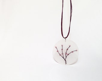 purple tree branch wire tree pendant minimal whimsical resin jewelry purple tree of life beads necklace hostess gift for girlfriend under 25