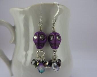 Dainty Purple Skull Earrings Crystal Eyes Boho Free Shipping