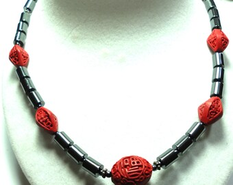 Hematite and Red Cinnabar Necklace with Carved Red Cinnabar Centerpiece Red Cinnabar Bead Necklace with Hematite Beads and Sterling Toggle
