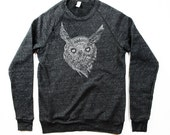 NEW! Mens Night Owl Sweatshirt  - Black Longsleeve Owl - Small, Medium, Large, Extra Large