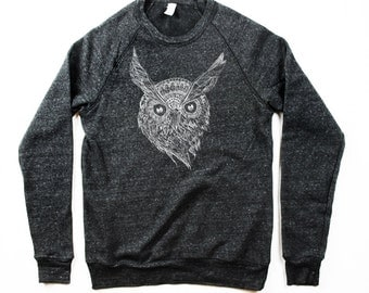 Night Owl Sweatshirt  - Mens Black Owl Sweater - Longsleeve Owl-  Small, Medium, Large, Extra Large