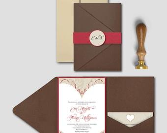 Wedding Invitation - Heart & Swirls - Deposit
