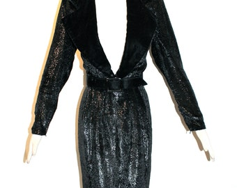 GIVENCHY NOUVELLE Vintage Black Metallic Dress Belted Wiggle - AUTHENTIC -