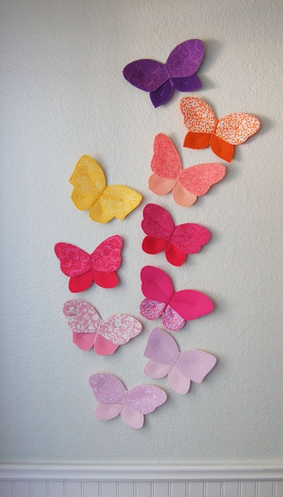 Etsy Butterfly Wall Decor : D fabric butterfly wall decor for girls room nursery