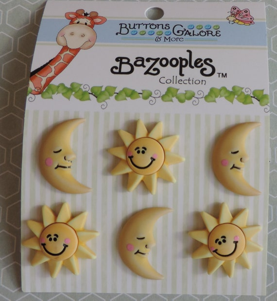 """Sun and Moon Buttons, Carded Set of 6 Buttons by Buttons Galore, Bazooples Collection """"The Sun and The Moon"""""""