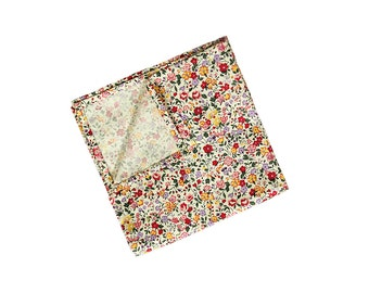 Molly - Pink Red Floral Pocket Square