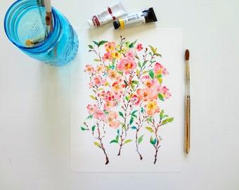 Cherry Blossoms Fine Art Print, Watercolor Flowers