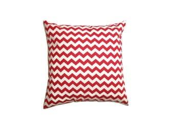 "Red White Chevron Stripe Cushion Cover Bright Print Cotton 14"" 35cm Pillow Case Modern Home Decor Living Gift Ideas"